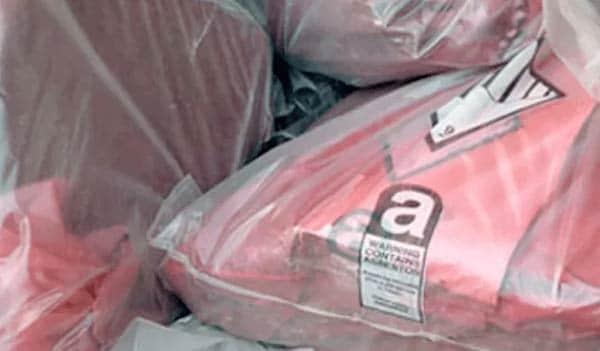 Asbestos bagged up