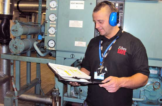 Fibre Safe worker at Vauxhalls surveying and air testing