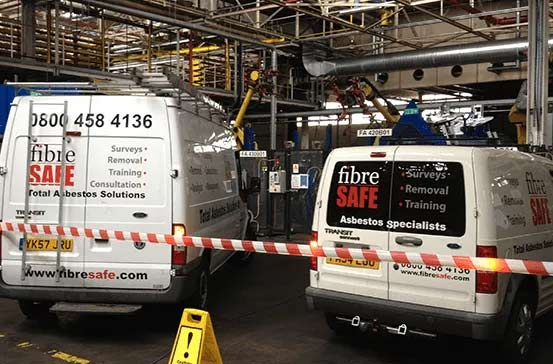 Fibre Safe vans on site with security tape in front